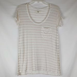 Madewell | Light Pink + Cream Tee XS